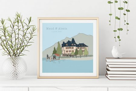 mariage illustration invitation faire part Annecy save the date